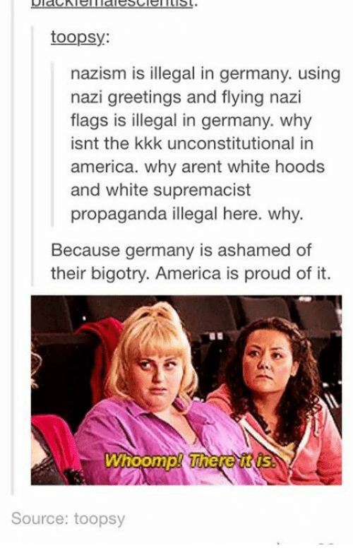 Whoomp: toopsy:  nazism is illegal in germany. using  nazi greetings and flying nazi  flags is illegal in germany. why  isnt the kkk unconstitutional in  america. why arent white hoods  and white supremacist  propaganda illegal here. why.  Because germany is ashamed of  their bigotry. America is proud of it.  Whoomp! Where  Source: toopsy