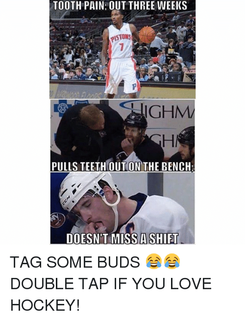 Hockey, Love, and Memes: TOOTH PAIN: OUT THREE WEEKS  PISTONS  GHM  PULLS TEETH OUT ON THE BENCH  DOESN'T MISS A SHIFT TAG SOME BUDS 😂😂 DOUBLE TAP IF YOU LOVE HOCKEY!
