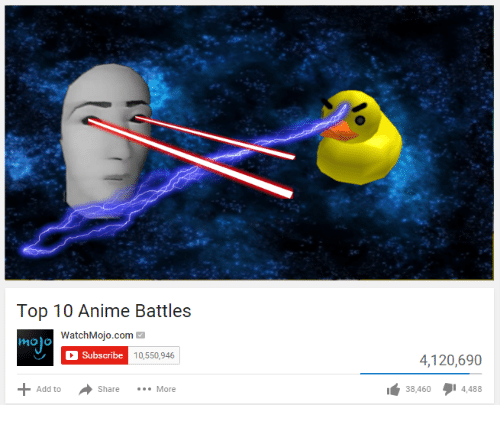 Anime Battles: Top 10 Anime Battles  WatchMojo.com M  mojo  C Subscribe  10,550,946  Share  More  Add to  4,120,690  38 460  4,488