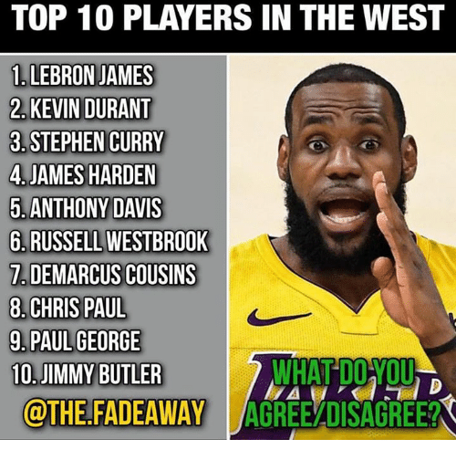 Chris Paul, DeMarcus Cousins, and James Harden: TOP 10 PLAYERS IN THE WEST  1. LEBRON JAMES  2. KEVIN DURANT  3. STEPHEN CURRY  4.JAMES HARDEN  5.ANTHONY DAVIS  6. RUSSELL WESTBROOK  7.DEMARCUS COUSINS  8. CHRIS PAUL  9.PAUL GEORGE  10.JIMMY BUTLER  WHAT DOYOU  @THE.FADEAWAY AGREEADISAGREE