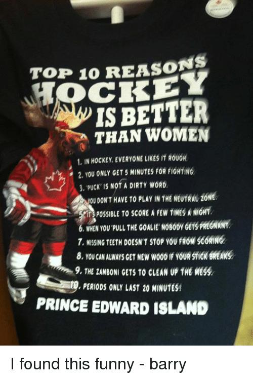 Funny, Hockey, and Prince: TOP 10 REASONS  IS BETTER  THAN WOMEN  1, IN HOCKEY EVERYONE LIKES IT ROUGH  2, YOU ONLY GET 5 MINUTES FOR FIGHTING  3, puck IS Nof A DIRTY wORD.  ou DON'T HAVE TO PLAY IN THE NEUTRAL ZONE  POSSIBLE TO SCORE A FEW TIMESANGMY  WHEN YOU PULL THE GOALIE NOBOOYOETSPREGNMIT  7, MISSING TEETH DOESN'T STop YOUfROMSCORING  9, THE ZAMBONI GETS TO cLEAN up THE MESS  PERIODS ONLY LAST 20 MINUTES!  PRINCE EDWARD ISLAND I found this funny - barry