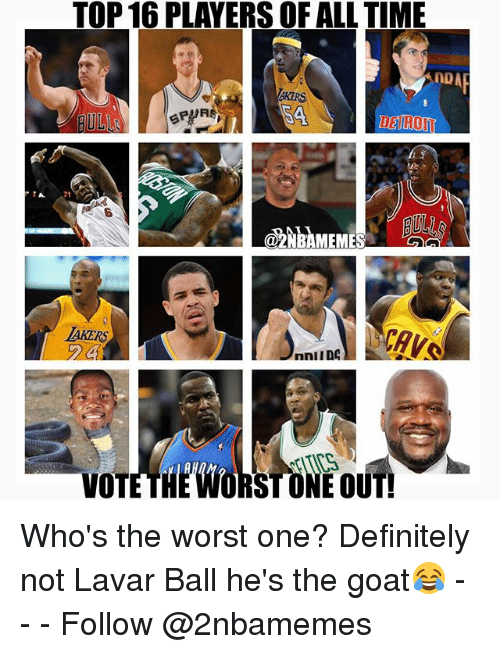 Definitely, Nba, and The Worst: TOP 16 PLAYERS OF ALL TIME  A 71  az  NBAMEMESAL  AKERS  RST ONE OUT!  VOT Who's the worst one? Definitely not Lavar Ball he's the goat😂 - - - Follow @2nbamemes