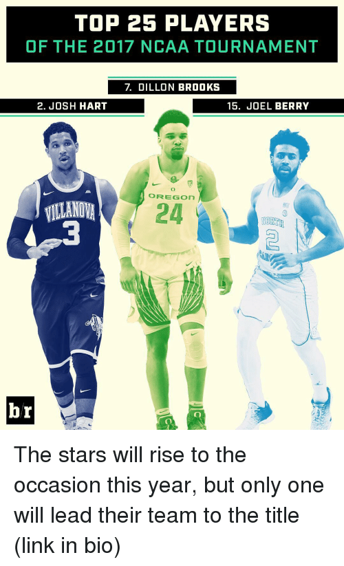 Villanova: TOP 25 PLAYERS  OF THE 2017 NCAA TOURNAMENT  2. JOSH HART  15. JOEL BERRY  O FREE GOn  VILLANOVA  24  NORTH  br The stars will rise to the occasion this year, but only one will lead their team to the title (link in bio)