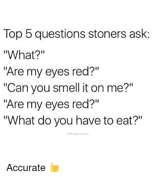 """its on me: Top 5 questions stoners ask  """"What?  """"Are my eyes red?""""  """"Can you smell it on me?""""  """"Are my eyes red?""""  """"What do you have to eat?""""  Marijuana tv Accurate 👍"""