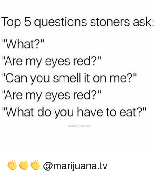 """its on me: Top 5 questions stoners ask  """"What?""""  """"Are my eyes red?""""  """"Can you smell it on me?""""  """"Are my eyes red?""""  """"What do you have to eat?"""" 👏👏👏 @marijuana.tv"""