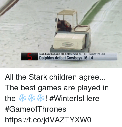 Thanksgiving Day: Top 5 Snow Games in NFL History I Week 13, 1993 (Thanksgiving Day)  Dolphins defeat Cowboys 16-14 All the Stark children agree...  The best games are played in the ❄️❄️❄️! #WinterIsHere #GameofThrones https://t.co/jdVAZTYXW0