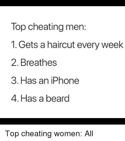 Cheating Men: Top cheating men:  1. Gets a haircut every week  2. Breathes  3. Has an iPhone  4. Has a beard Top cheating women: All