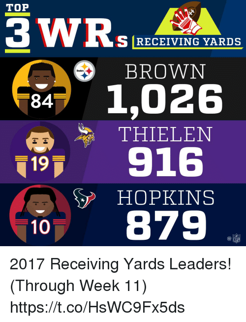 Memes, Steelers, and 🤖: TOP  S RECEIVING YARDS  BROWN  Steelers  8471,026  THIELEN  19 916  HOPKINS  10、879  @叩 2017 Receiving Yards Leaders! (Through Week 11) https://t.co/HsWC9Fx5ds