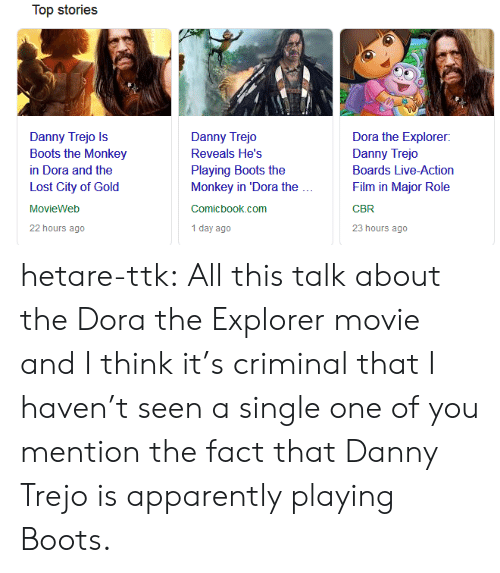 Dora the Explorer: Top stories  Danny Trejo Is  Boots the Monkey  in Dora and the  Lost City of Gold  MovieWeb  22 hours ago  Danny Trejo  Reveals He's  Playing Boots the  Monkey in 'Dora the  Comicbook.com  1 day ago  Dora the Explorer:  Danny Trejo  Boards Live-Action  Film in Major Role  CBR  23 hours ago hetare-ttk: All this talk about the Dora the Explorer movie and I think it's  criminal that I haven't seen a single one of you mention the fact that  Danny Trejo is apparently playing Boots.