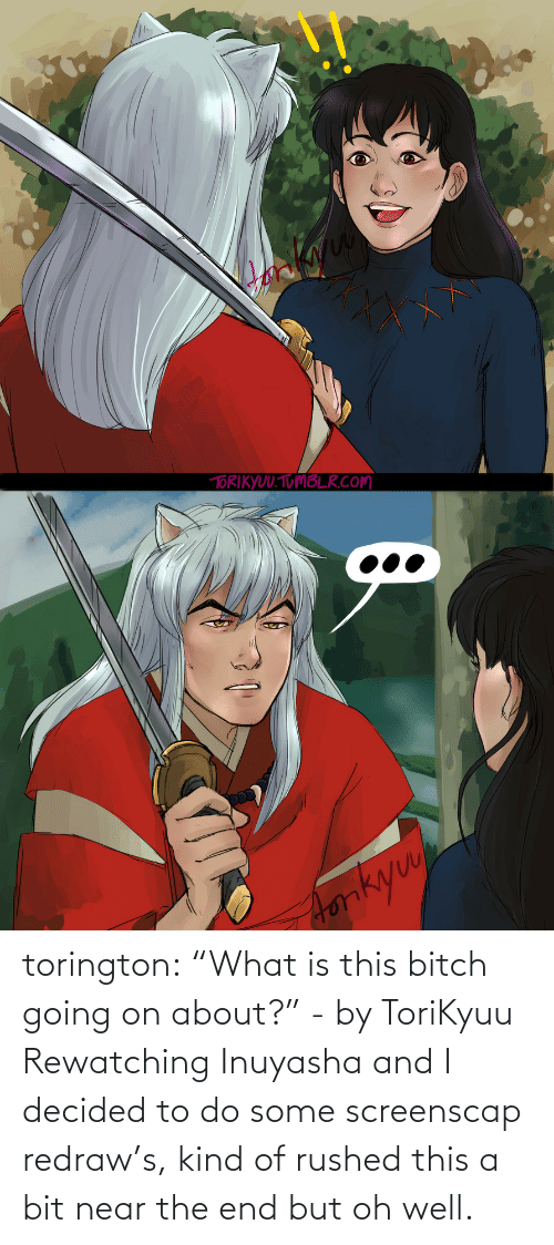 "InuYasha: torington: ""What is this bitch going on about?"" - by ToriKyuu Rewatching Inuyasha and I decided to do some screenscap redraw's, kind of rushed this a bit near the end but oh well."