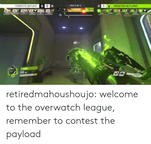 outlaws: TORONTO DEFIANT  0  MAP 2 OF 4  1Y HOUSTON OUTLAWS  24  500 retiredmahoushoujo:  welcome to the overwatch league, remember to contest the payload