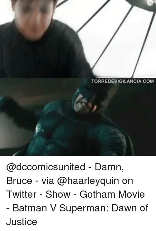 Memes, Batman v Superman: Dawn of Justice, and Batman v Superman: TORREDEVIGILANCIA.COM @dccomicsunited - Damn, Bruce - via @haarleyquin on Twitter - Show - Gotham Movie - Batman V Superman: Dawn of Justice
