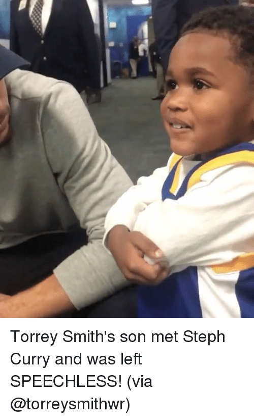 Sports, Steph Curry, and Curry: Torrey Smith's son met Steph Curry and was left SPEECHLESS! (via @torreysmithwr)