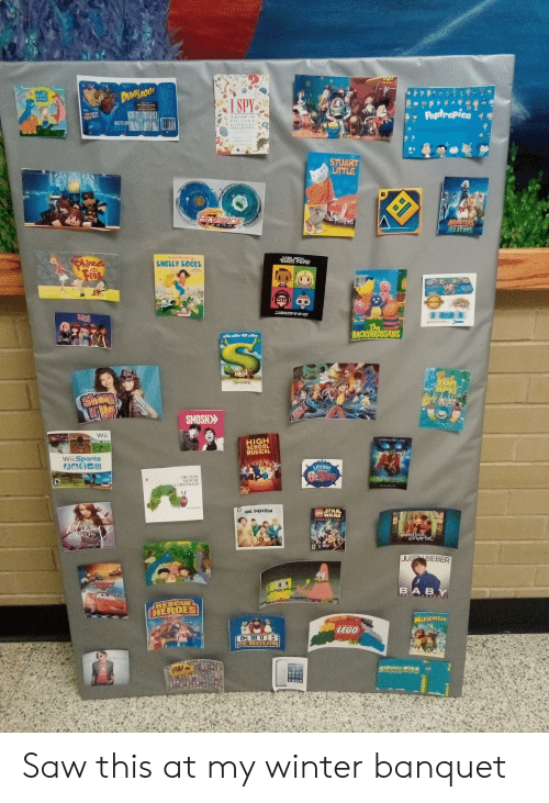 backyardigans: TOT  STORY  HaTy  DUNMROOS  SPY  el  Poptropica  NEW COOKI  A BOOK O1  PICTURE  RIDDLES  STUART  LITTLE  R  BEYB LADE  MONSTERS  DENS  LEG END  THE LACK  EYED PEAS  Robert Mumch  Pbineas  ERB  SMELLY SOCKS  and  ainbo  Lonm  UT  AUTHENTIC  THE BEGINNING  The  BACKYARDIGANS  PY AY LIT  VERS  SHREK  Share  SMOSH  Wii  HIGH  SCHOOL  MUSICAL  WiiSports  Littlest  etShep  THE VERY  HUNGHY  CATERPILLAR  SCOO DO0  iy En Carl  ID  ONE DIRECTON  STAR  WARS  LEGO  COMPLETE SAGA  CRUS  (huck  sA  PARTY AN  JUST BIEBER  BABY  FEAT LUDAGRI  RESCUE  HEROES  MADAGASCAR  LEGO  PENGUIN Saw this at my winter banquet