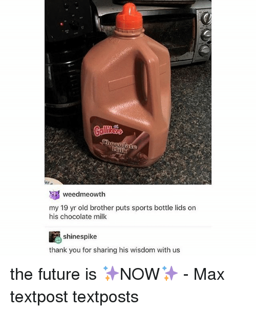 Memes, 🤖, and Brother: tota  weedmeowth  my 19 yr old brother puts sports bottle lids on  his chocolate milk  shinespike  thank you for sharing his wisdom with us the future is ✨NOW✨ - Max textpost textposts