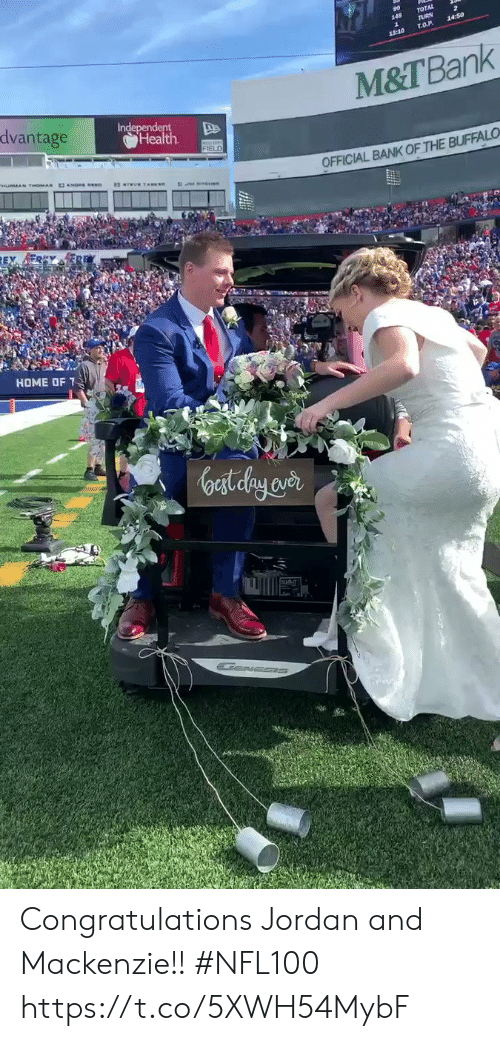 mackenzie: TOTAL  rURN  T.O.P  14:50  18:10  M&T Bank  dvantage  Independent  Health  FIELD  OFFICIAL BANK OF THE BUFFALO  HOME OF  oast elay aver Congratulations Jordan and Mackenzie!!   #NFL100 https://t.co/5XWH54MybF