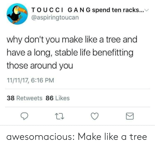 gan: TOUCCI GAN G spend ten racks...V  @aspiringtoucan  why don't you make like a tree and  have a long, stable life benefitting  those around you  11/11/17, 6:16 PM  38 Retweets 86 Likes awesomacious:  Make like a tree