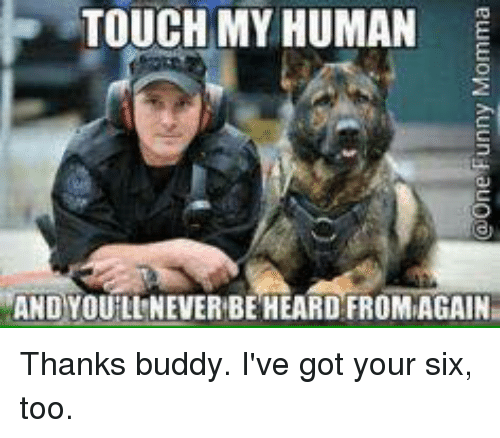 Ive Got Your Six: TOUCH MY HUMAN  AND YOU LINEVERBE HEARD FROMAGAIN Thanks buddy. I've got your six, too.