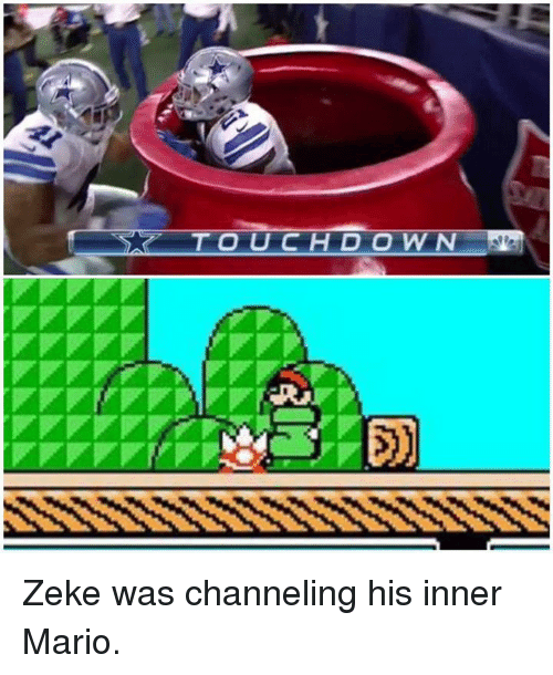 Nfl, Mario, and Zeke: TOUCHDOWN Zeke was channeling his inner Mario.