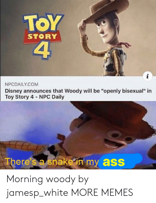 "Toy Story 4: ToY  4  STORY  NPCDAILY.COM  Disney announces that Woody will be ""openly bisexual"" in  Toy Story 4 NPC Daily  There's a snake in my ass Morning woody by jamesp_white MORE MEMES"