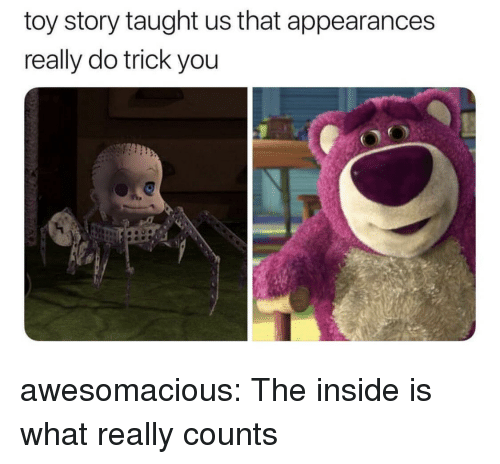 Appearances: toy story taught us that appearances  really do trick you  O! awesomacious:  The inside is what really counts