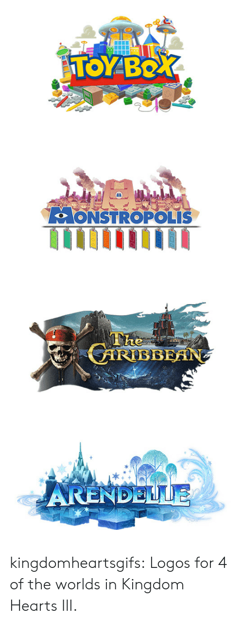 Kingdom Hearts: TOYBO   LoONSTROPOLIS   ARENDELLE kingdomheartsgifs:  Logos for 4 of the worlds in Kingdom Hearts III.