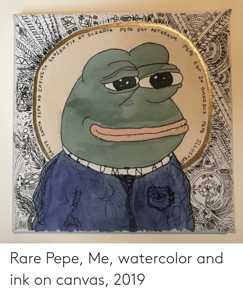 Rare Pepe: TPEE EST AETE  st Rare Pepe, Me, watercolor and ink on canvas, 2019