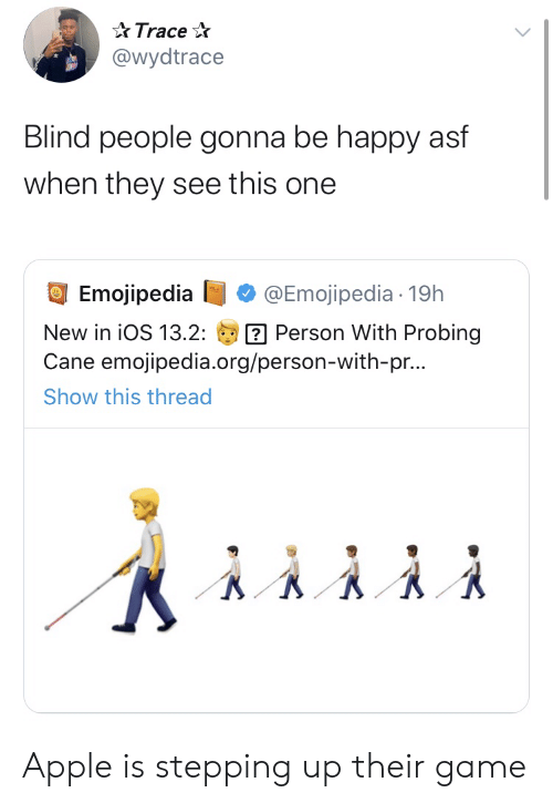 Stepping: Trace  @wydtrace  Blind people gonna be happy asf  when they see this one  Emojipedia  @Emojipedia 19h  Person With Probing  Cane emojipedia.org/person-with-pr...  New in iOS 13.2:  Show this thread Apple is stepping up their game