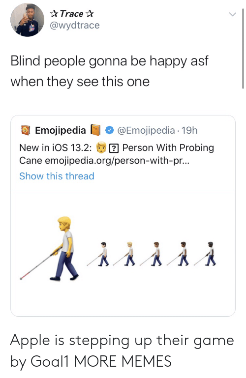 Stepping: Trace  @wydtrace  Blind people gonna be happy asf  when they see this one  Emojipedia  @Emojipedia 19h  Person With Probing  Cane emojipedia.org/person-with-pr...  New in iOS 13.2:  Show this thread Apple is stepping up their game by Goal1 MORE MEMES
