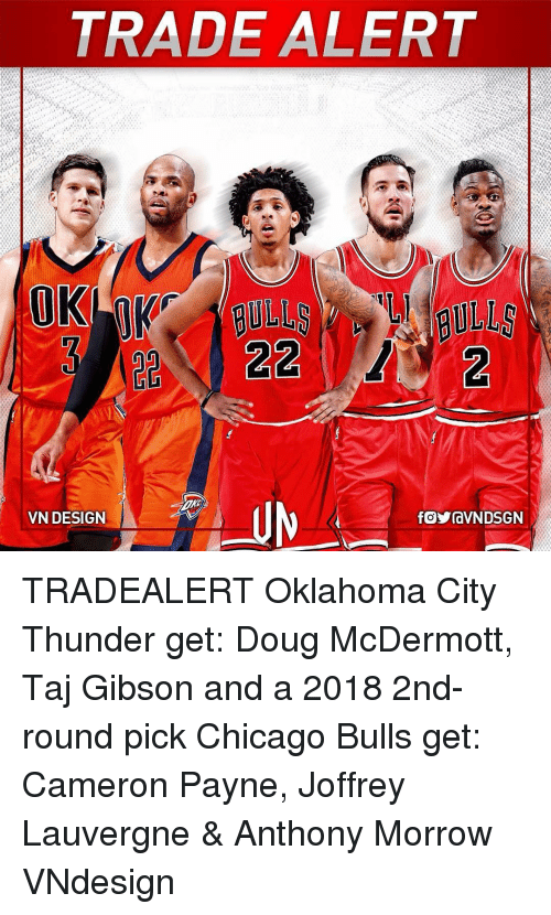 Citi: TRADE ALERT  A  OK  22  22  M ni--Jy-fowavN DSGN  VN DESIGN  fGVravN DSGN  e  (2  のS TRADEALERT Oklahoma City Thunder get: Doug McDermott, Taj Gibson and a 2018 2nd-round pick Chicago Bulls get: Cameron Payne, Joffrey Lauvergne & Anthony Morrow VNdesign