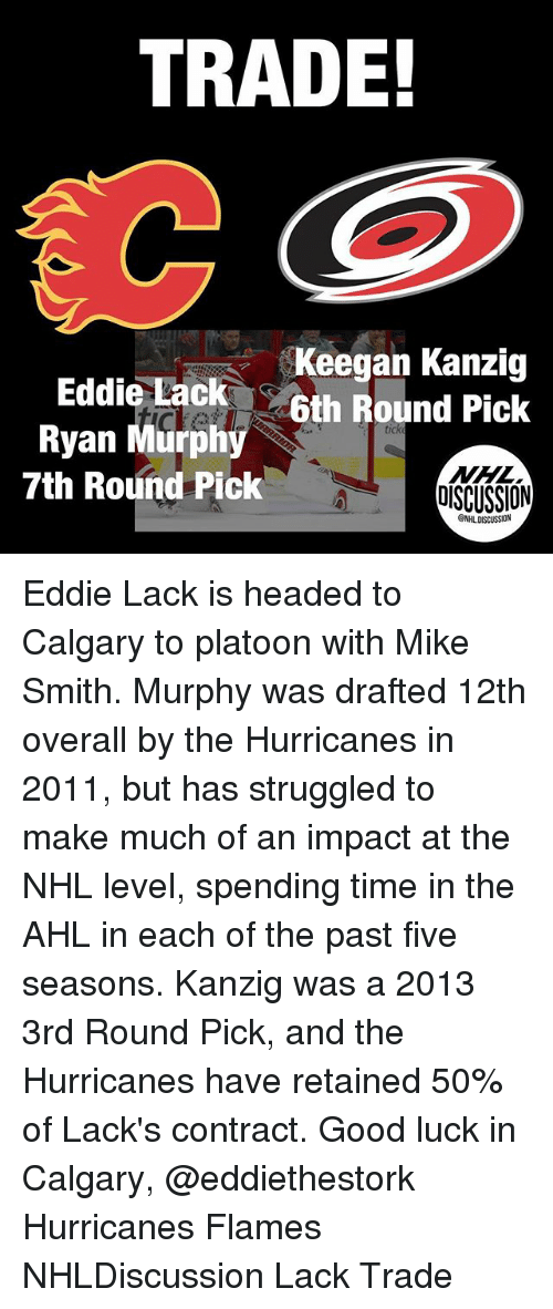 Memes, National Hockey League (NHL), and Good: TRADE!  Keegan Kanzig  6th Round Pick  Eddie Lack  Ryan Murphy  7th Round Pick  OISCUSSION  NHLDISCUSSION Eddie Lack is headed to Calgary to platoon with Mike Smith. Murphy was drafted 12th overall by the Hurricanes in 2011, but has struggled to make much of an impact at the NHL level, spending time in the AHL in each of the past five seasons. Kanzig was a 2013 3rd Round Pick, and the Hurricanes have retained 50% of Lack's contract. Good luck in Calgary, @eddiethestork Hurricanes Flames NHLDiscussion Lack Trade