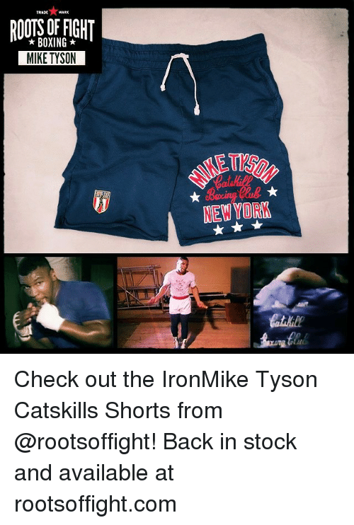 trading: TRADE  MARK  BOXING  MIKE TYSON  NEW YORK Check out the IronMike Tyson Catskills Shorts from @rootsoffight! Back in stock and available at rootsoffight.com
