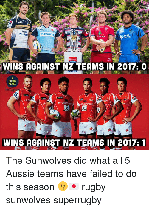 Memes, Rugby, and Aussie: Trade  Plusso  ROAD  SAFETY  DAIKIN  stgeorge  WINS AGAINST NZ TEAMS IN 2017: 0  RUGBY  MEMES  In  ヒト。  WINS AGAINST NZ TEAMS IN 2017:1 The Sunwolves did what all 5 Aussie teams have failed to do this season 😗🇯🇵 rugby sunwolves superrugby