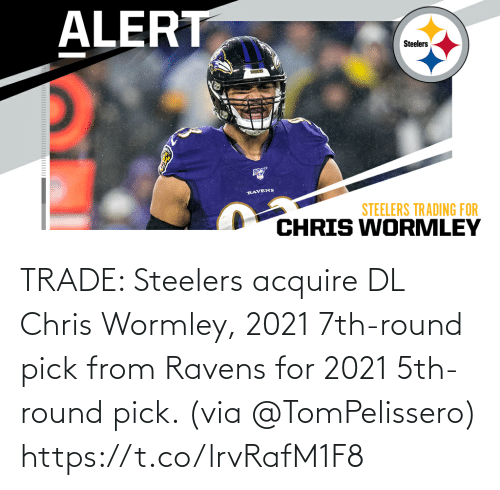 Ravens: TRADE: Steelers acquire DL Chris Wormley, 2021 7th-round pick from Ravens for 2021 5th-round pick. (via @TomPelissero) https://t.co/lrvRafM1F8