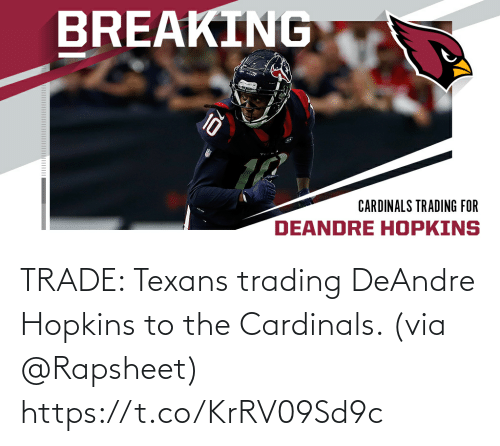 trading: TRADE: Texans trading DeAndre Hopkins to the Cardinals. (via @Rapsheet) https://t.co/KrRV09Sd9c