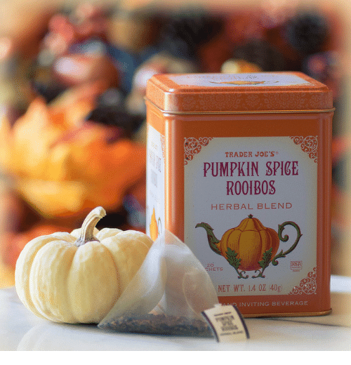 joes: TRADER JOE'S  PUMPKIN SPICE  ROOIBOS  HERBAL BLEND  30  NET WT 14 02 40g  INVITING BEVERAGE