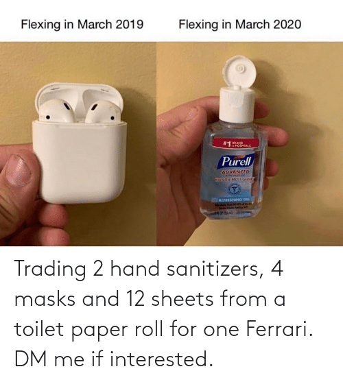 toilet-paper-roll: Trading 2 hand sanitizers, 4 masks and 12 sheets from a toilet paper roll for one Ferrari. DM me if interested.