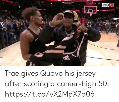 jersey: Trae gives Quavo his jersey after scoring a career-high 50!  https://t.co/vX2MpX7a06