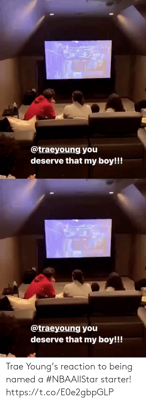 reaction: Trae Young's reaction to being named a #NBAAllStar starter!  https://t.co/E0e2gbpGLP