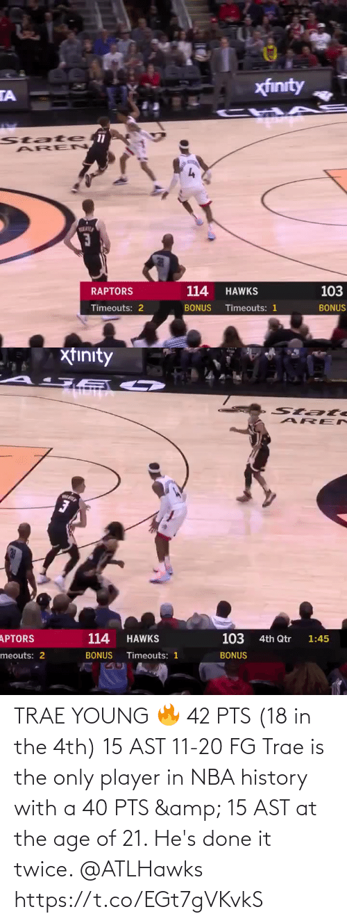 Twice: TRAE YOUNG 🔥  42 PTS (18 in the 4th) 15 AST 11-20 FG  Trae is the only player in NBA history with a 40 PTS & 15 AST at the age of 21. He's done it twice. @ATLHawks   https://t.co/EGt7gVKvkS