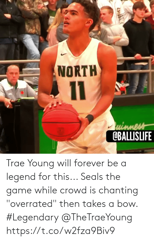 "crowd: Trae Young will forever be a legend for this... Seals the game while crowd is chanting ""overrated"" then takes a bow. #Legendary @TheTraeYoung https://t.co/w2fza9Biv9"