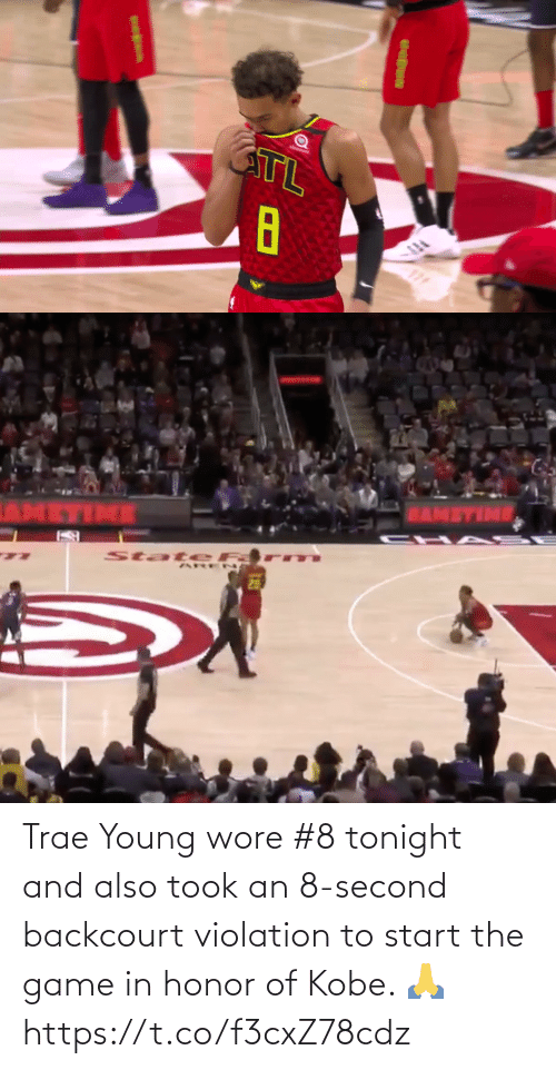 Wore: Trae Young wore #8 tonight and also took an 8-second backcourt violation to start the game in honor of Kobe. 🙏 https://t.co/f3cxZ78cdz