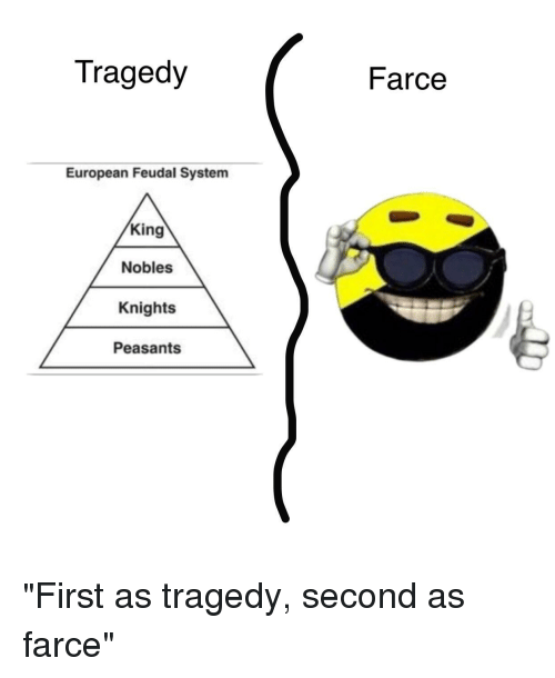 Tragedy farce european feudal system king nobles knights for Farcical tragedy