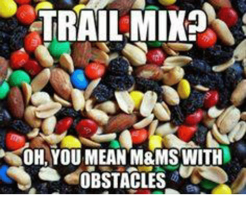 Trail Mix: TRAIL MIX?  YOH YOU MEAN M&MS WITH  OBSTACLES