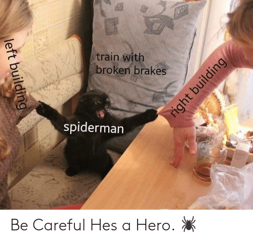 Brakes: train with  broken brakes  spiderman  left building  right building Be Careful Hes a Hero. 🕷️