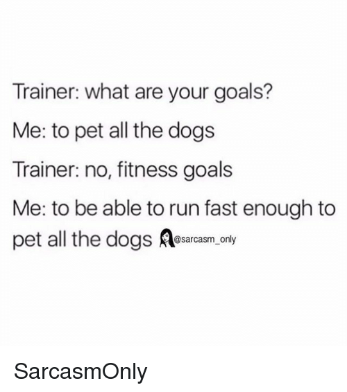 Dogs, Funny, and Goals: Trainer: what are your goals?  Me: to pet all the dogs  Trainer: no, fitness goals  Me: to be able to run fast enough to  pet all the dogss.only SarcasmOnly