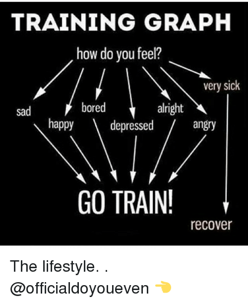 Happiness: TRAINING GRAPH  how do you feel?  very sick  bored  alright  sad  happy  V depressed  angry  GO TRAIN!  recover The lifestyle. . @officialdoyoueven 👈