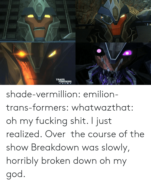 shade: TRANS  FORMERS shade-vermillion:  emilion-trans-formers:  whatwazthat:  oh my fucking shit. I just realized. Over the course ofthe show Breakdown was slowly, horribly broken down   oh my god.