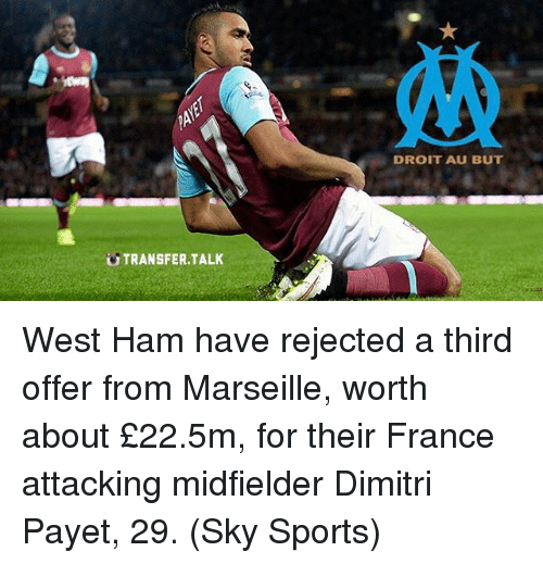 Sky Sport: TRANSFER TALK  DROIT AU BUT West Ham have rejected a third offer from Marseille, worth about £22.5m, for their France attacking midfielder Dimitri Payet, 29. (Sky Sports)