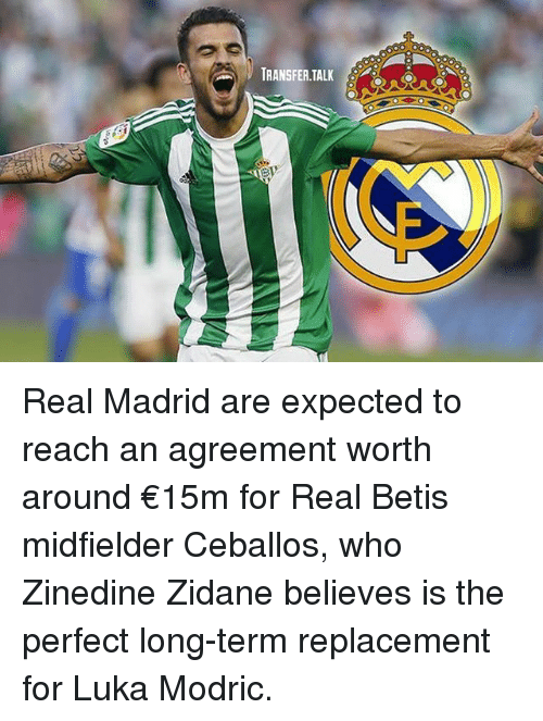 Memes, Real Madrid, and Zinedine Zidane: TRANSFER.TALK Real Madrid are expected to reach an agreement worth around €15m for Real Betis midfielder Ceballos, who Zinedine Zidane believes is the perfect long-term replacement for Luka Modric.